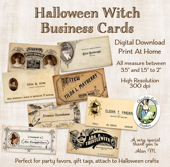 Halloween witch business cards tags digital download vintage style halloween witch business cards tags digital download vintage style printable calling cards clip art collage image scrapbook graphics from chocolaterabbit on colourmoves