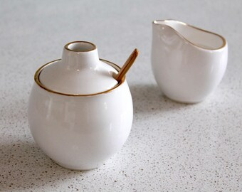 Sugar Bowl With GOLD - Pottery mini honey pot