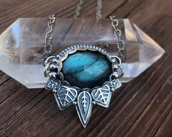 Labradorite Leaf Necklace, Sterling and Fine Silver, Handmade, 18 Inch Chain