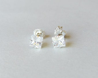 Tiny Sterling Silver 4mm Square CZ Studs Earrings, Cartilage Earring, Dainty Earrings, Everyday jewelry