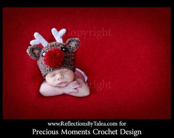 Baby Christmas Hat 3-6m Reindeer Baby Hat Crochet PHOTO PROP