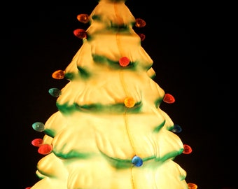Vintage Union Products Blow Mold Lighted Christmas Tree // 13 Inches // Plastic // Multicolored Lights