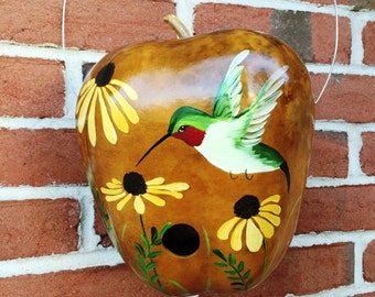 Handpainted Gourd Birdhouse with Hummingbird and Yellow Black-Eyed Susan Flowers