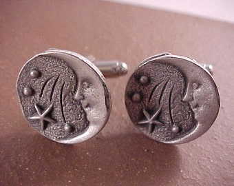 Pewter Smiling Moon Clothing Button Cuff Links