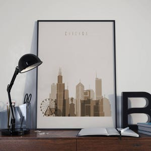 Chicago Art Chicago Watercolor Chicago Multicolor Chicago Wall Art Chicago  Wall Decor Chicago Home Decor Chicago