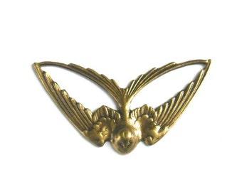 1 Antique Bronze Swooping Bird Connector - 3-45