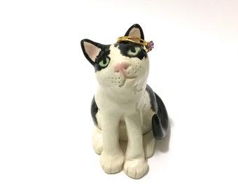 Cat Ring Holder, Tuxedo Cat Sculpture, Hand-Sculpted Ceramic Cat Art