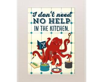 "Octopus Kitchen Poster 11""x16"", Le Chef, Cooking Octopus, Art Print, Animal Art Print, Illustration, Vector Art, Kitchen Poster"