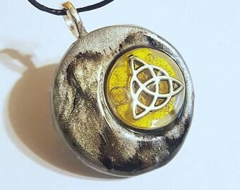 Crescent Moon Triqueta Flower Necklace Bohemian Jewelry Clay Resin Pendant Nature  Triquetra Trinity Knot Celtic Spiritual Symbol
