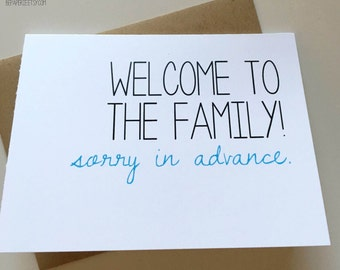 Wedding Card - Family Card - Card for Bride - Card for Groom - New In-Law Card