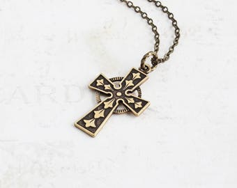 Antiqued Brass Cross Necklace, Ornate Cross Pendant Necklace, Small Pendant, Religious Jewelry Gift