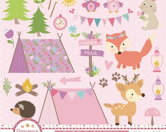 Girls camping ,pink tents, flowers and forest animals, printable digital clipart set