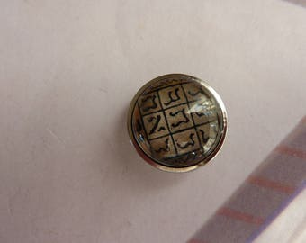1 snap button cabochon table game of Tic-Tac-Toe glass and silver metal 20mm