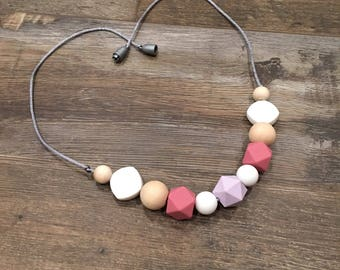 Statement Teething Necklace - Gift for Mom - Silicone and Wood - New Baby - Baby Shower Gift - Free Shipping