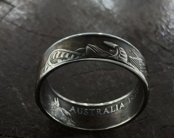 Beautifully Detailed Hand Crafted Australian 10 Cent Piece Coin Ring