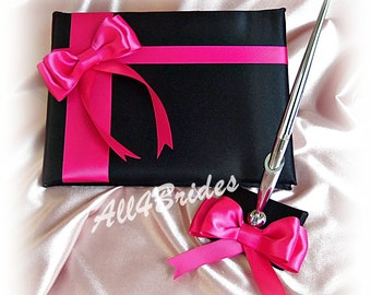 Hot pink and black wedding guest book and pen set.  Blak and pink wedding decorations.