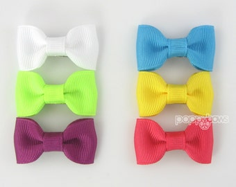 Small Baby Hair Bows 6 Pack of Pinched Bows On Mini Snap Clips for Fine Hair Newborn to Toddler - Non Slip White Neon Blue Bright Colors mp