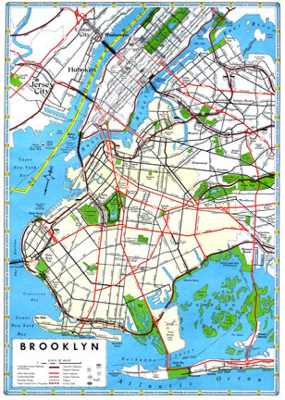 Brooklyn Map Vintage 1960s Art Illustration New York City NYC