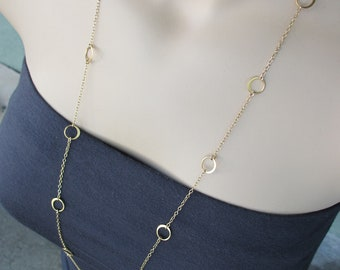 Gold Circles Long Necklace, Modern, Circle Necklace, Layering Necklace, Gold Vermeil, Irisjewelrydesign