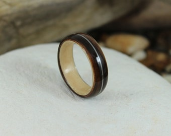Ebony and Maple Bent Wood Ring with a Guitar String Inlay, Handmade to Any UK or US Size. Guitar String Ring, Wooden Band, Ebony Wood Ring