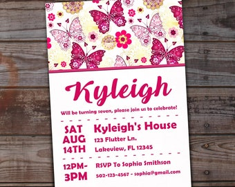 Butterfly birthday invitation, Butterfly invitations, Butterfly birthday invites, Butterfly birthday party, Butterflies and Flowers