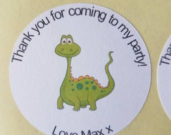 cute green dinosaur party/sweet cone/thank you stickers.