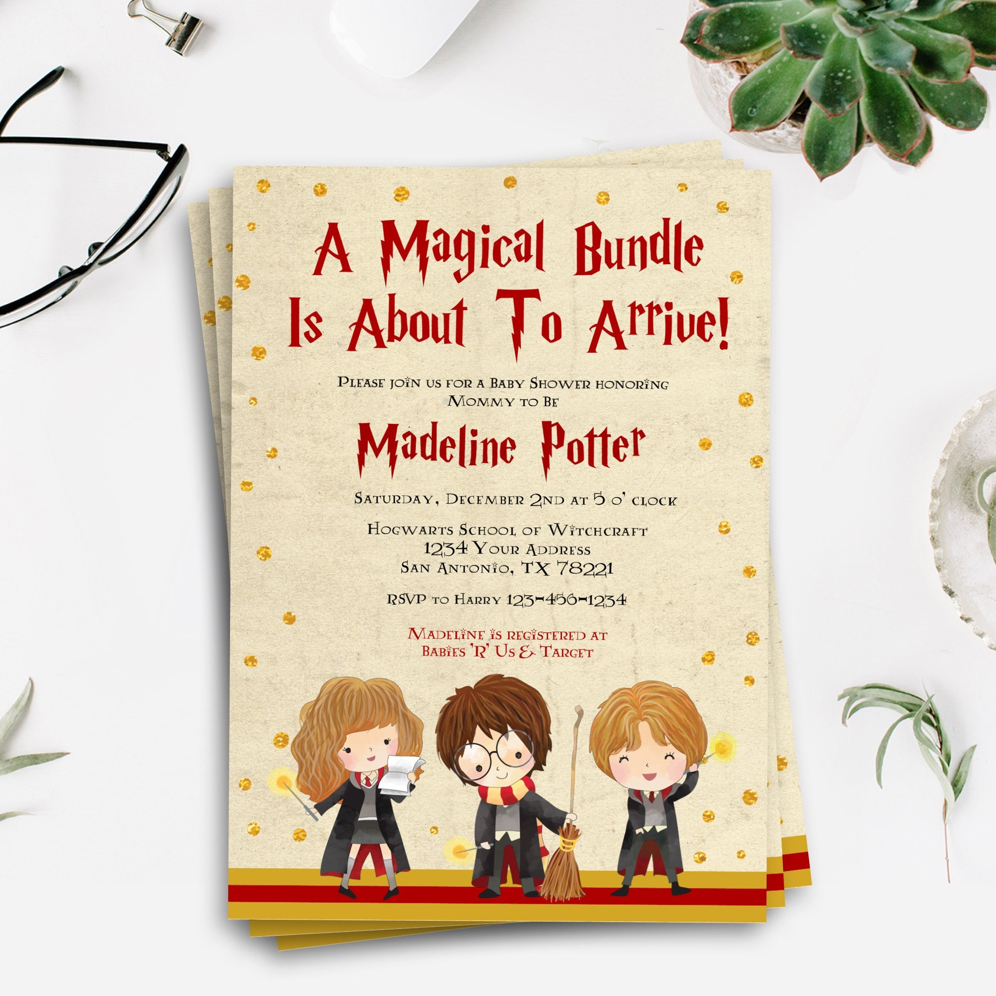 Harry Potter Baby Shower Harry Potter Baby Shower Invitation
