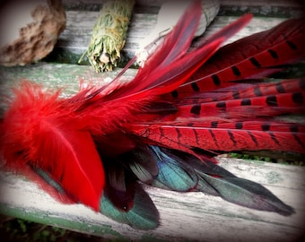 ONLY FOUR LEFT in Stock: Pheasant Smudge Fan-Pay with PayPal get a free spell in the box! Phoenix Red- w/Naturally Dropped Feathers