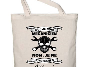 Large Tote Bag shopping bag mechanic skull 100% cotton printed in France StickMarquage