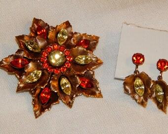 Vintage Demi-Parure - Brooch and Earrings, Orange and Green Rhinestone Flowers and Leaves, 1960s
