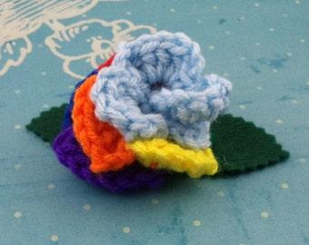 Crocheted Rose Hair Clip - Light Blue and Rainbow (SWG-HC-MPRD01)