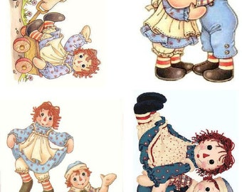 Lot Of 4 Raggedy Ann & Andy Fabric Panel Quilt Squares