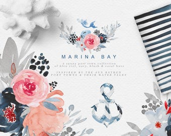 Watercolor Graphic Set - Watercolor Floral Clipart - Nautical Clipart - Sea clipart - Navy and Pink Clipart Flowers - Mermaid - Seahorse