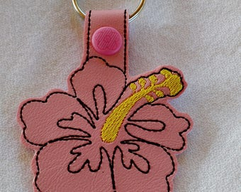 Hibiscus Key Fob... Key Chain... Key Ring... Zipper Pull