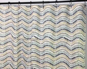 Retro Shower Curtain Fabric Shower Curtain Custom Shower Curtain Taupe  Indigo Blue 72 X 84 108