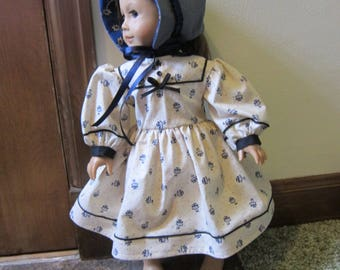 Civil War Style Dress To Fit 18 inch doll, cream