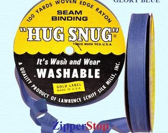 "GLORY BLUE - Hug Snug Seam Binding - 100 yard roll 1/2"" Wide - 100% Woven-Edge Rayon - Sewing Trim & Craft Supply"