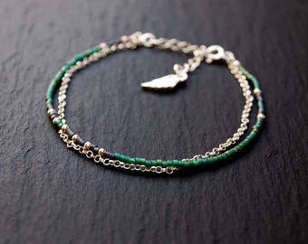 Double bracelet, chain and beads MIYUKI, Sterling Silver 925 bracelet, Wing of an Angel
