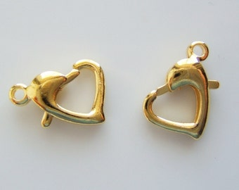 2  - Shiny Gold Heart Shaped Lobster Claw Clasps