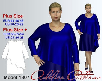 Plus size Dress with long sleeves and flared assimetrical skirt Sewing Pattern PDF, Women's sizes 18-28, Plus size dress pattern PDF