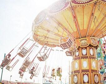 Parc à thème nostalgique photographie / / grand carrousel d'impression / / parc à thème photographie enfants chambre Wall Art / / enfants chambre Art Coney Island tours