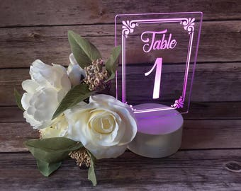 Acrylic Wedding Table Numbers With LED Base