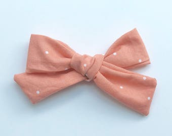 Schoolgirl Bow, Pink Polka Dot, nylon band, alligator clip, infant, baby, toddler, girl