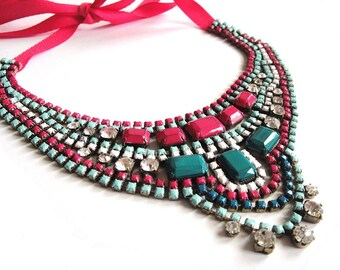 Rhinestone necklace bib statement in hot pink mint and emerald - painted vintage rhinestone art deco piece