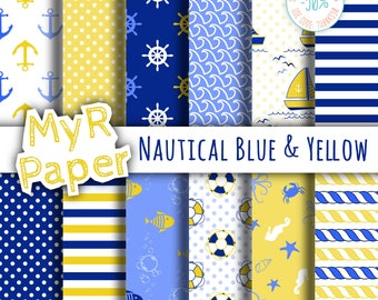 """Digital Paper Pack: """"Nautical Blue & Yellow"""" patterns and backgrounds with anchor, rudder, sailboat, fish, seawaves. Digital Scrapbooking"""
