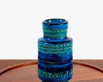 Vintage Bitossi pottery vase Rimini Blu - 1960s Italian pottery - blue Mediterranean decor - Aldo Londi - midcentury modern ceramic vase