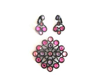 Earrings Brooch Demi Parure Pink Lavender Crystal Black Patina Mod