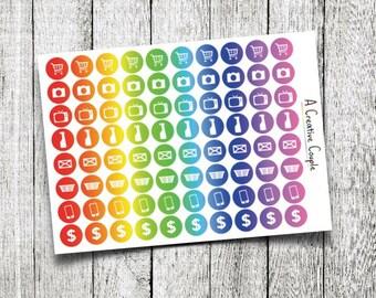 Rainbow Spectrum Planner Sticker Icons
