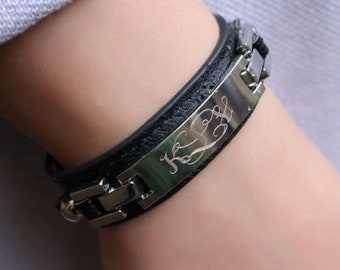 Monogrammed Leather Bracelet, Personalized Bracelet, Leather Cuff Bracelet