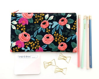 Rifle Paper Co Fabric Zipper Pouch, Pencil Case, Rosa Floral Pencil Pouch, Navy Cosmetic Bag, Bridesmaid Gift,